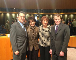 President Ken Yeager, far right, with Supervisor Wasserman, Congresswoman Eshoo and First 5 CEO Jolene Smith
