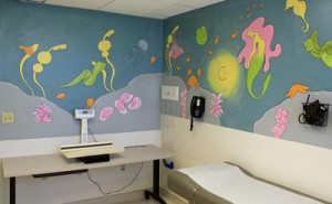(photo courtesy Valley Medical Center)One of the finished murals in a pediatric room at Valley Medical Center is Under the Sea, designed and drawn by Carissa Rosario, a Pioneer graduate who is currently studying at Mission College. This project was headed by the Almaden Kiwanis Club. The County of Santa Clara is presenting a commendation to the Almaden Kiwanis Club for these murals.