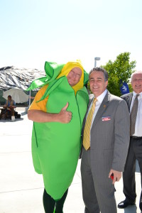 President Wasserman with me, dressed as an ear of corn for the opening of our Farmers Market last year. I mean me dressed as corn, not him.