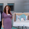 Thomas Boström and Claire McCormack stand next to the initial rendering of the new Family Library and Lounge that will greet visitors to SCVMC Pediatrics. Their gift is being made to honor their late daughter, Nora.